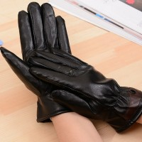 Ladies Black PU Leather Gloves Full Finger Self Protective Mittens Winter Autumn Outdoor Warm Accessories GL105