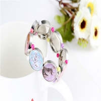 12pcs/lot Frozen Princess Bracelet With Colorful Beads Child Hand Chain Elastic Wrist Band Craft Bangle jbc009