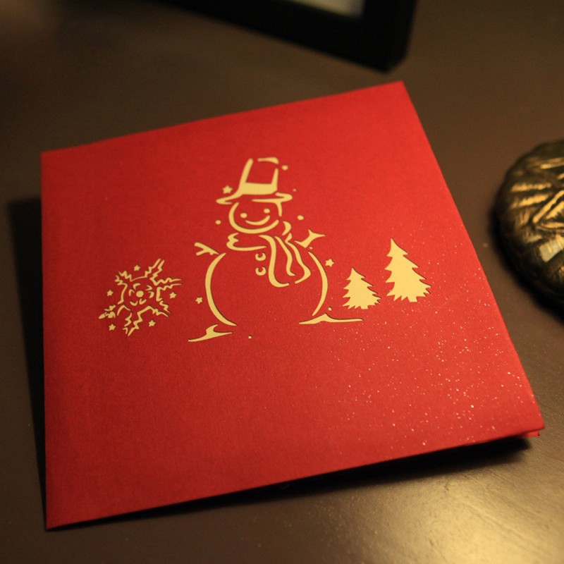 Merry christmas style blessing cards 3d kirigami snowman for Kirigami christmas card