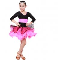 Child Latin Dance Dress Multi Tier Hemline Double Color Design Stage Stage Rumba Cha-cha Modern Dance Costume tls112