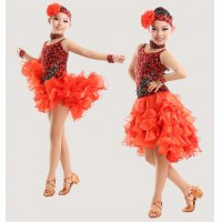 Child Modern Latin Dance Strap Dress Multi Layer Hemline Design With Faux Gemstone Stage Cha-cha Rumba Dance Costume tls103