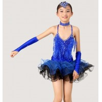 Girls Modern Latin Dance Costume Ostrich Feather Backless Dress With Faix Rhinestone Three Layer Hemline Stage Dancewear tls119