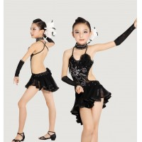 Girls Stage Latin Dance Backless Strap Dress With Sequins Irregular Hemline Rumba Cha-cha Modern Dance Apparel tls115
