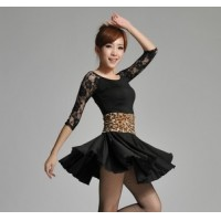 Charming Latin Skirt Round Neck Elbow Lace Sleeves Design Women's Night Club Dance Costume Party Dress tl009