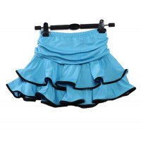 Child Stage Latin Rumba Cha-cha Dance Skirt Double Tier Hemline Waist Ruche Design Modern Dance Apparel tls107