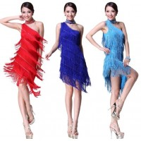New Fashion One-shoulder Bright Drill Women Latin Dance Tassel Slim Skirt Costume Ballroom Dancing Cocktail Dress 6 Color tl004