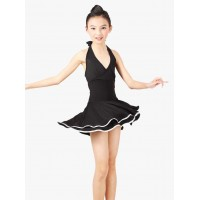 Child Stage Latin Dance Halter Backless Dress With Dual Layer Hemline Rumba Chap-cha Tango Modern Dance Clothing tls118