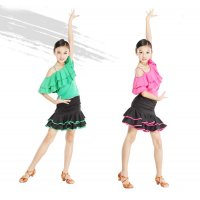 Girls Modern Latin Dance Dress Suit ( Top + Skirt ) One-shoulder Single Strap Pleats Collar Design tls108
