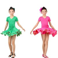 Girls Latin Dance Costume Dual Layer Hemline Waist Ruches Dress Rumba Cha-cha Tango Stage Dance Apparel tls114