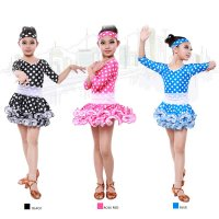 Children Latin Dance Dress Dot Pattern Leaf Rolling Hemline Waist Pleats Stage Cha-cha Rumba Modern Dance Apparel tls109
