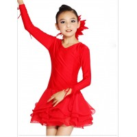 Girls Modern Latin Dance Costume Drawstrings Long Sleeves Chiffon Hemline Dress Rumba Cha-cha Stage Dance Apparel tls116