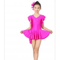 Children Latin Dance Dress Swallowtail Sleeves Tassel With Faux Gemstone Stage Modern Dance Costume tls113