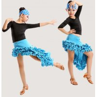 Girls Stage Latin Dance Costume Set ( Top + Skirt ) With Hairband Spiral Hemline Modern Dance Dress tls106