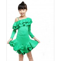 Girls Satge Latin Dance One-shoulder Dress Ruches Collar Spiral Hemline Rumba Cha-cha Modern Dance Costume tls117