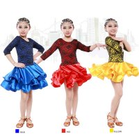 Children Latin Dance Lace Dress Satin Silk Ruffle Hemline Stage Cha-cha Rumba Tango Stage Modern Dance Costume tls110