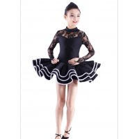 Child Stage Latin Dance Dress With Three Tier Hemline Lace Collar Sleeves Rumba Chacha Modern Dance Apparel tls111