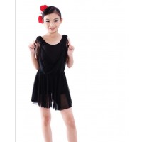 Children Latin Ballet Dance Dress Sleeveless Flowing Gauze Hemline Design Stage Modern Dance Party Show Costume tls120