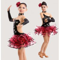 Children Latin Dance Costume Backless Strap Dress Multiply Dot Gauze Hemline Design Cha-cha Dance Apparel tls104