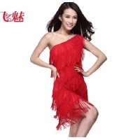 Women's Red Latin Dancewear One Shoulder Tassel Skirt with Crystal Beads Party Tango Apparel tl012