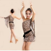 Girls Latin Dance Dress One-shoulder Single Trumpet Sleeve Design Stage Cha-cha Rumba Tango Dance Costume tls105