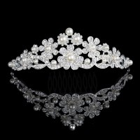 12pcs/lot Crystal Faux Pearls Crown Flower Design Wedding Bride Accessaries Woman Party Jewelry Headwear jz009t