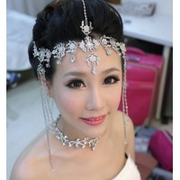 Wholesale - Bohemia style Wedding Bridal Jewelry crystal bead headpiece long tassel floral headdress Tiara hair accessories headband jt019