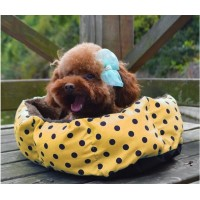 Dog Puppy Dog Cat Bed Pet Nest Plush Nest Soft Pet Bed Dot Pattern Plush Mat 41 x 30 x 12cm