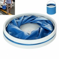 9L Portable Outdoor Folding Bucket for Car Camping Hiking Travel - Blue