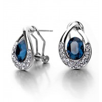 Blue water drop Crystal 18K white Gold Plated Earring Genuine Austrian Crystal Wholesale free shipping E005