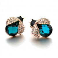 Blue Crystal 18K Rose Gold Plated Earring Genuine Austrian Crystal Wholesale free shipping E004