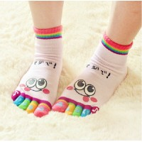 6 Pairs Womens Cute Cartoon 3D printing Five Fingers Trainer Toe woman socks /cotton socks 5 toed socks women Yoga sport socks 6 Pairs a Lot