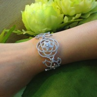 925 Sterling silver large flower,Peony bracelet, Noble bracelets zircon AAA band elegant modern new jewelry alibaba