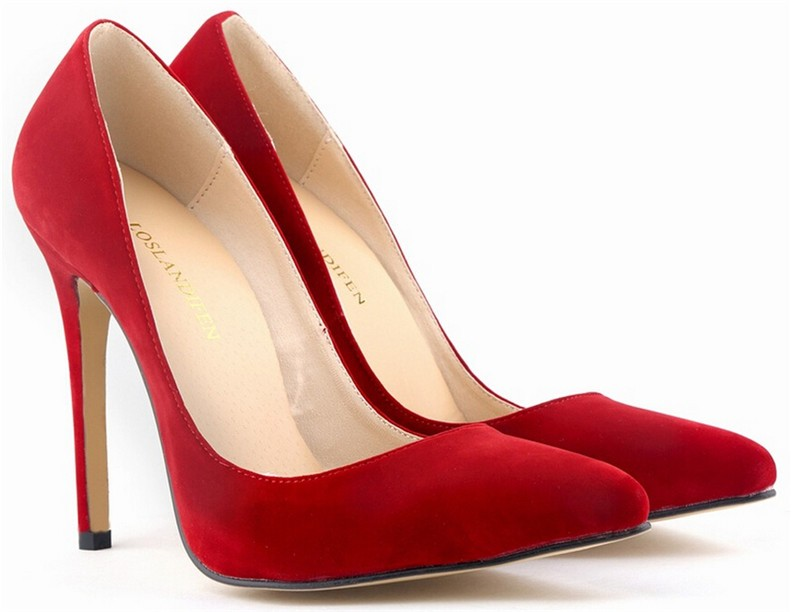 Women's Red Suede Sexy High Heels Pumps Party Queen Point Toe ...