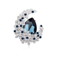 Blue Austria Crystal Flower Brooch