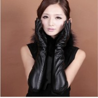 long leather gloves women Fashion Spring and autumn Warm Outdoor Mittens fingers for Lady 50cm over the elbow black red