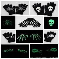 Halloween party hot models luminous skeleton ghost hand warm winter touch screen gloves for men and women