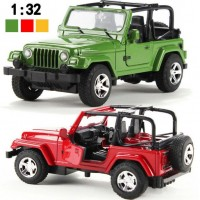 2015 New Alloy Car Model Vehicle Simulation Toy for Children 1:32 Scale Model Jeep Wrangler Car Electric Toy Sound & Light