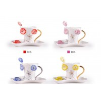 Enamel porcelain coffee cups and saucers teaspoons creative gift Bone Morning glory cups Semen Pharbitidis