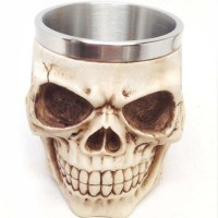 Personality Stainless Steel Resin 3D Skull Coffee Mug Liner Creepy water tea Cup Tankard Halloween Christmas Decor