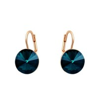 18K Rose Gold GP Blue Stone Dangle Earring Shining Swarovski Crystal Jewelry