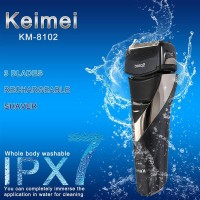 KM-8102 Men's IPX7 Washable Cordless Electric Shaver Razor Trimmer Rechargeable Face Care 3D Floating