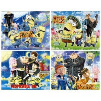 4pcs/LOT Kids 2D Cartoon minions Puzzle Toy jigsaw Puzzle
