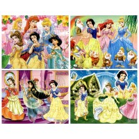 4Pcs/lot Children's Educational toys Snow Princess Puzzles For Kids toys 4 Designs Cartoon Puzzles for Children