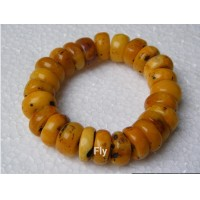 Retail ! Free shipping 2017 new natural old yellow amber beeswax beads bracelet 20x10MM 60g