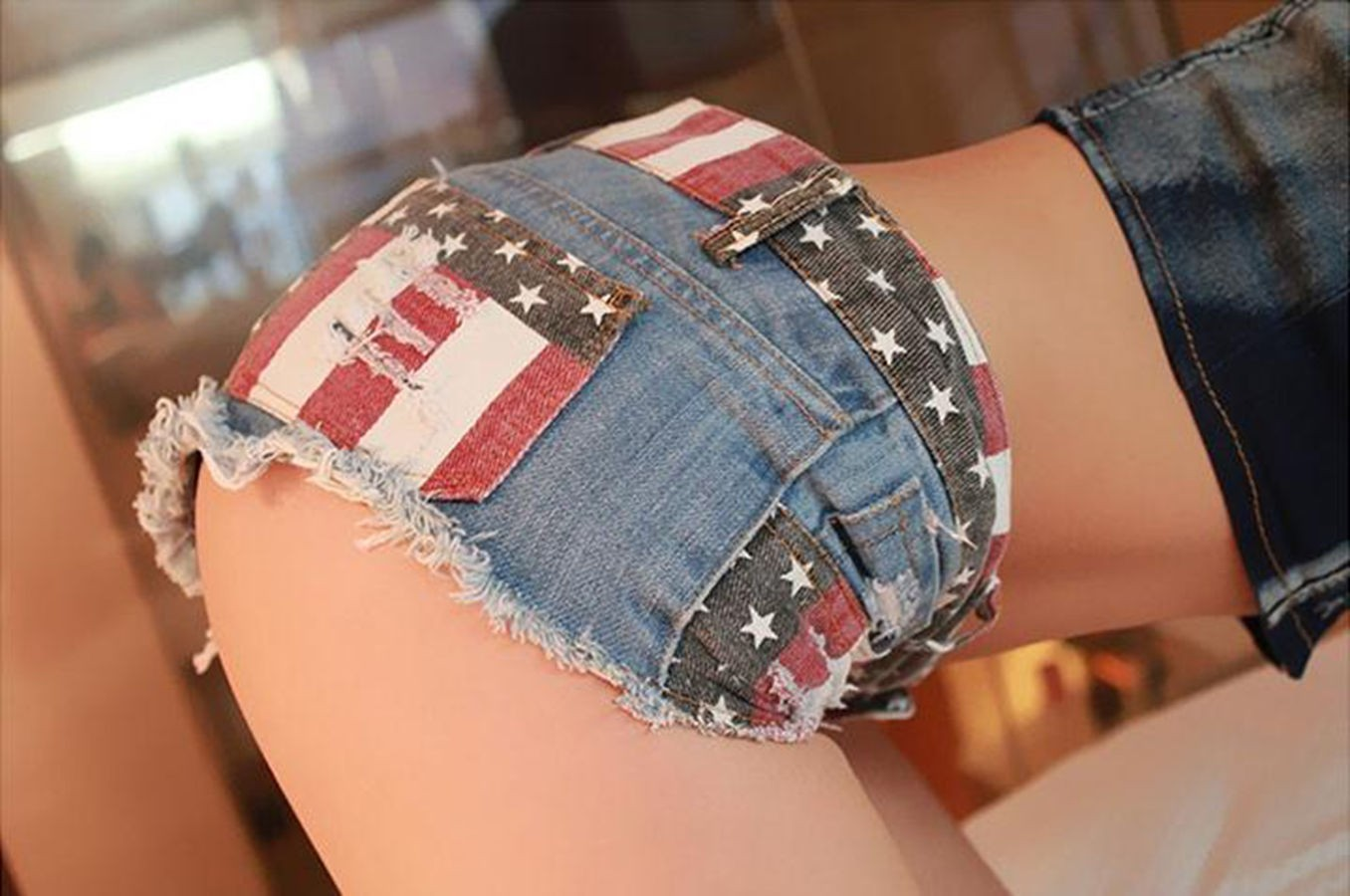 American Flag Sexy Skinny Jeans Tease Babes Hipster Jeans Shorts The Nightclub Hot Pants Women