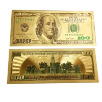 1Pcs/Lot 24K Gold New Novelty Gifts 100 Dollar Coloured Banknotes Gold Foil Money Collections