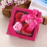 4 roses soap flower birthday gift Valentine 's Day roses gift box