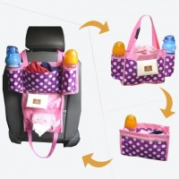 Fashion 3 in 1 Waterproof Dot Print Baby Diaper Bag Car Seat Back Nappy Organizer Mummy Maternity Bags Inner Containers free shipping