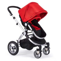 4 wheels baby stroller with 5 point safety seat belt.