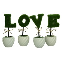 Mastone Ceramic Vase LOVE artificial plants Potted Simulation flowers decorated Flocking Flower
